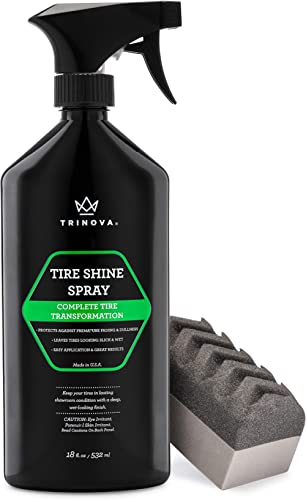 TriNova Tire Shine Spray No Wipe - Automotive Clear Coat Dressing for Wet & Slick Finish - Keeps Tires Black - with R...
