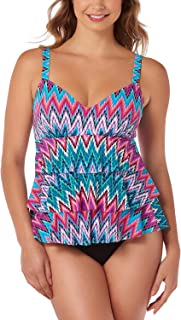 Swim Solutions Island Sunset Tummy-Control Tiered One-Piece Swimsuit