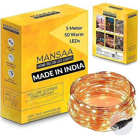 MANSAA® USB String Lights for Decoration 5 MTR 50 LED USB Operated, Yellow Rice Light (50 LED USB)