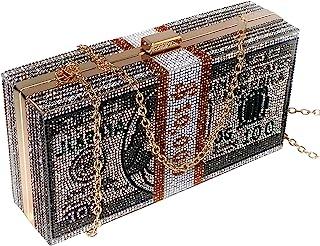 Women's Money Clutch Purse Rhinestone Bling Glitter Evening Handbag Dollar Crossbody Shoulder Bag