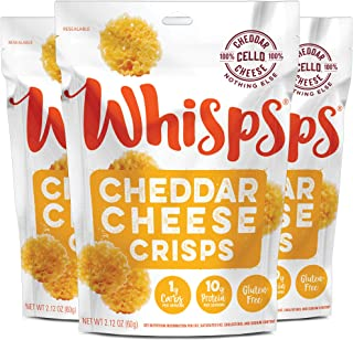 Whisps Cheddar Cheese Crisps | Keto Snack, No Gluten, No Sugar, Low Carb, High Protein | 2.12oz (3 Pack)