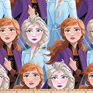 Disney Frozen 2 Fleece Sisters Packed Blue Quilt Fabric By The Yard