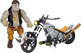 Teenage Mutant Ninja Turtles Movie 2 Out Of The Shadows Rocksteady With Chopper Motorcycle Vehicle With Figure