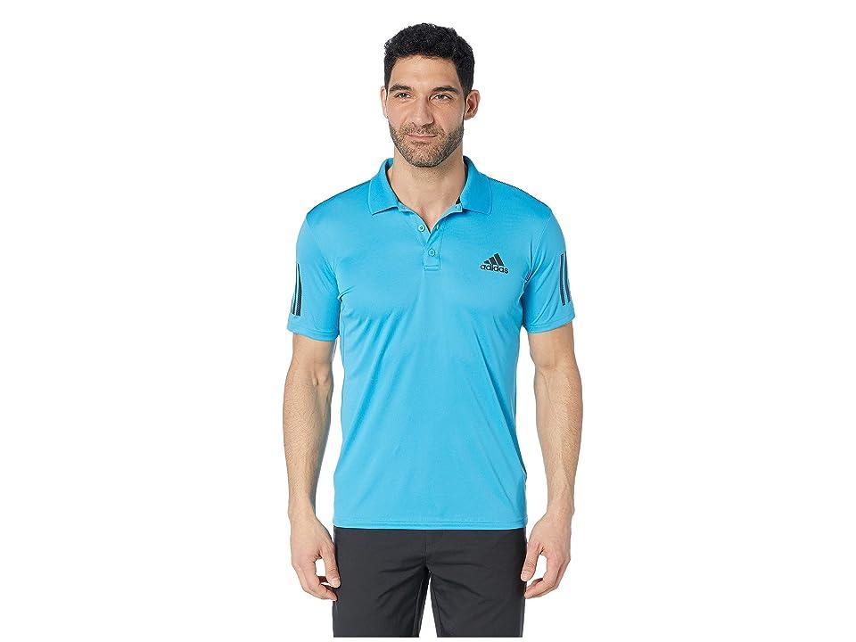 adidas Club 3-Stripes Polo (Shock Cyan/Black) Men