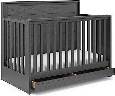 Storkcraft Luna 4-in-1 Convertible Crib with Drawer - Full-Size Storage Drawer for Nursery Essentials, Adjustable Mattress Height, Fits Standard Size Crib Mattress, Converts Into Full-Size Bed, Gray