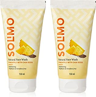 Amazon Brand - Solimo Pineapple Face Wash with Chia Seed, 150ml (Pack of 2)