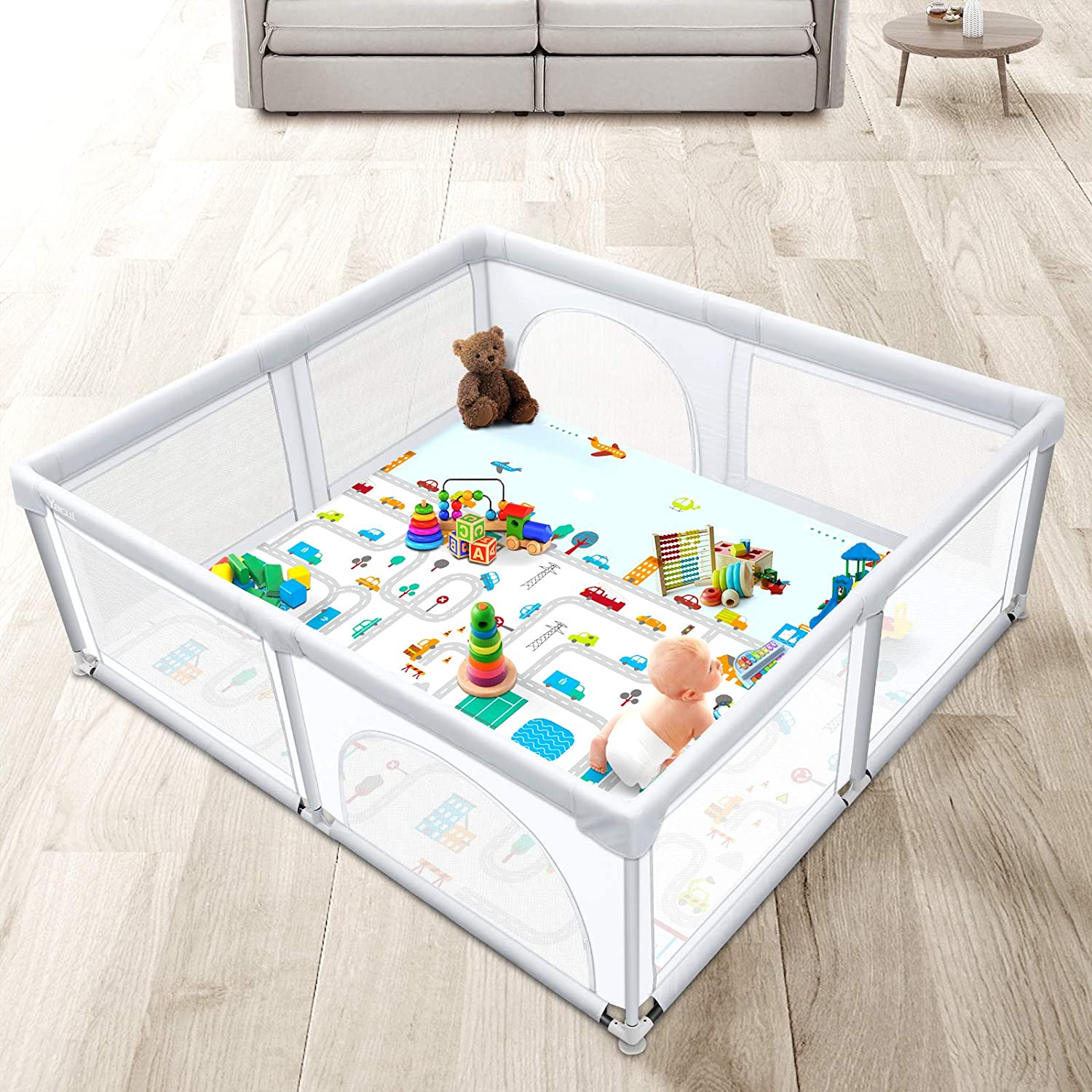 Yacul Extra Size Baby Playpen with Play Mat, 78.7x70.8in, 38.75 sq. Ft Play Area, Light Gray