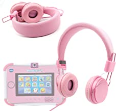 DURAGADGET Pink Ultra-Stylish Kids Fashion Headphones with Padded Design, Button Remote and Microphone - Compatible with V Tech Innotab 3, V Tech Innotab 3S