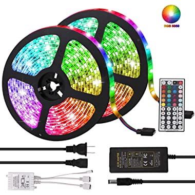 LED Strip Lights, Targherle 33ft/10M Led Light Strip SMD 5050 IP65 Waterproof RGB Flexible Light Strip Kit with 44 Key IR Remote RGB Controller, Strengthen 3M Tape, 12V 5APower Supply (RGB)