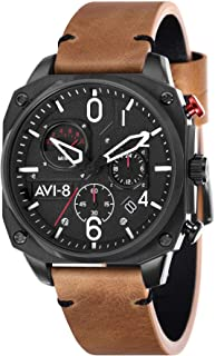 Hawker Hunter Mens Analog Japanese Quartz Watch with Leather Bracelet AV-4052-02