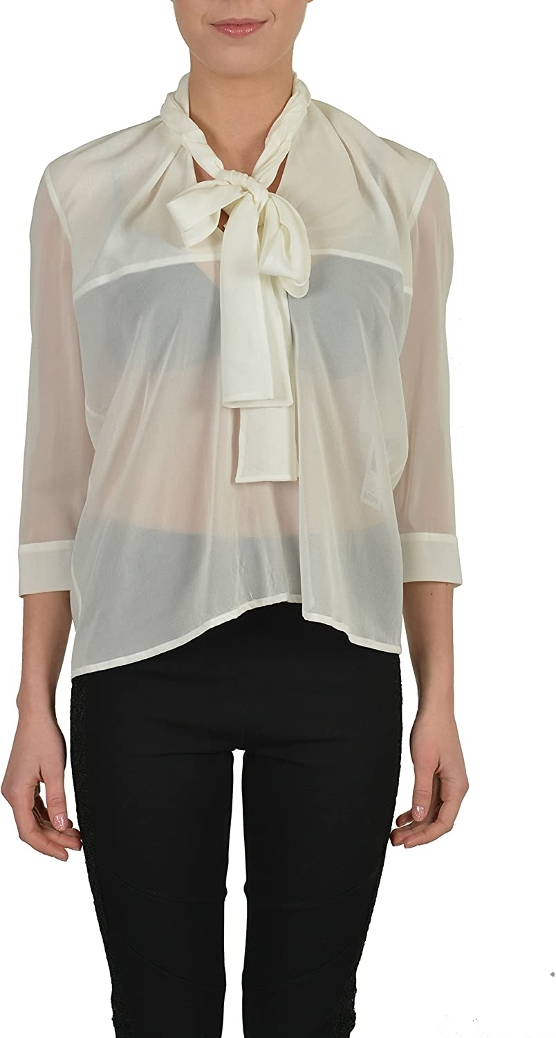 Just Cavalli Silk White See Through 3 4 Sleeves Women's Blouse US S IT 40