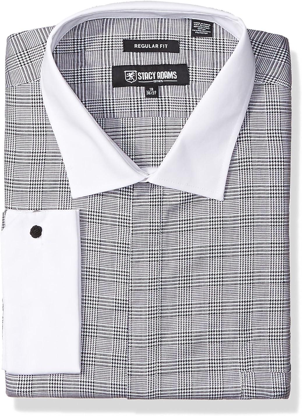 STACY ADAMS Men's Big and Tall Big & Tall Large Glen Check Classic Fit Dress Shirt