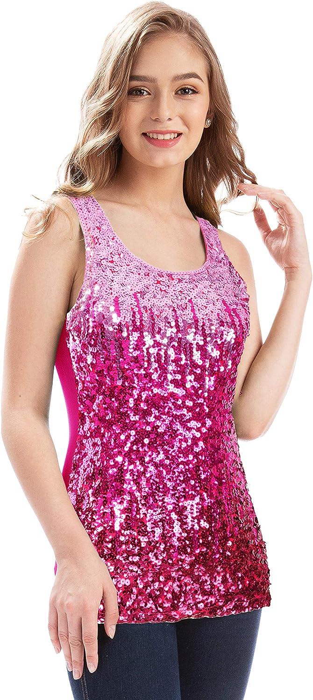 MANER Regular store Trust Women's Sequin Tops Sleeveless Gradient Glitter Tank Club