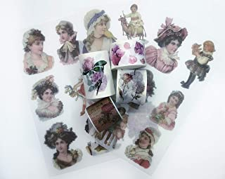 Vintage Victorian Roses washi Tape & Sticker Set. Incl Extra Wide Tape. for Custom Cards, scrapbooks, Wall Paper Borders, Crafts and Gift Wrapping