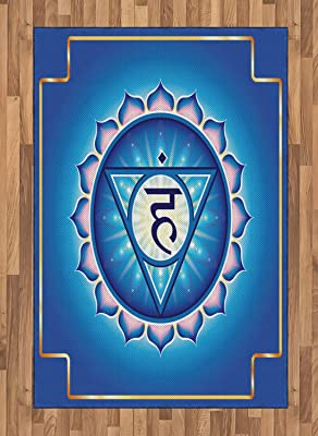 Ambesonne Chakra Area Rug, Vishuddha The Throat Symbolizes Spiritual Drive Refers Yang Positive, Flat