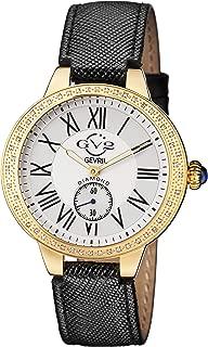 GV2 by Gevril Astor Womens Diamond Swiss Quartz Black Leather Strap Watch, (Model: 9107)
