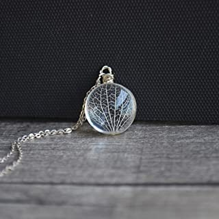 Kabbalah Tree of Life Leaf Vein Real Flowers Glass 925 Sterling Silver Necklace
