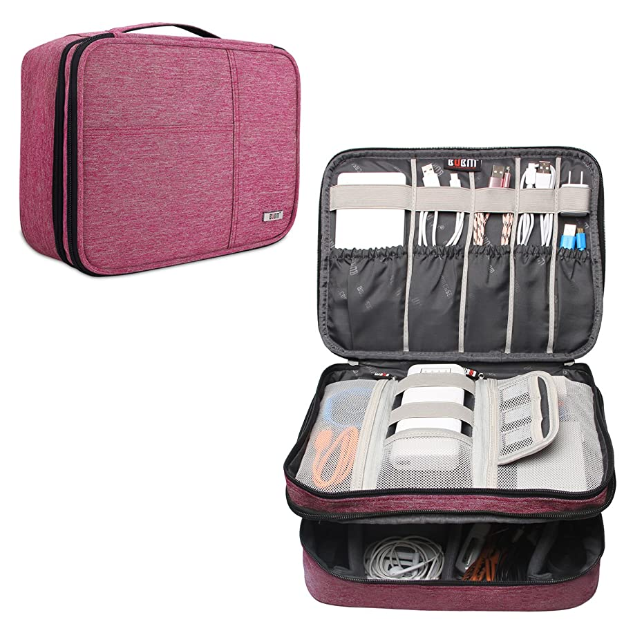 BUBM Electronic Organizer, Double Layer Travel Cable Organizer Bag for Cord, Memory Card, Power Bank and More, A Pouch fits for Up to 10.5'' iPad Pro (Extra Large, Denim Pink)