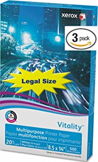 Xerox Legal Size Vitality Business 4200 Multipurpose Copy Laser Inkjet Printer Paper, 8 1/2 x 14 Inch, 20 lb Density, 92 Bright, Acid Free, 3 Ream Pack, 1500 Total Sheets (3R02051-3 Ream Multipack)