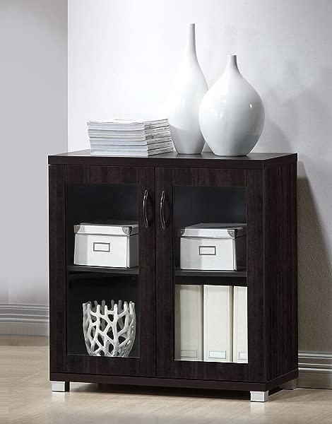 Baxton Studio Wholesale Interiors Zentra Sideboard Storage Cabinet With Glass Doors Dark Brown