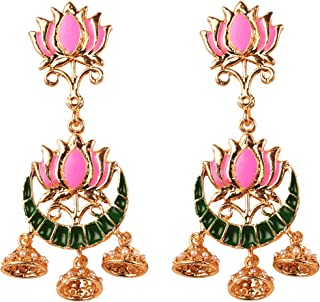NEW! Touchstone Indian Bollywood Traditional Mughal Chandbali Meenakari Enamel Lotus Faux Pearls Designer Jewelry Chandeli...