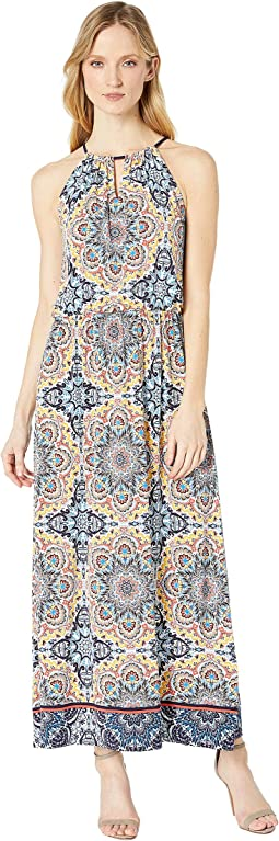 Turkish Tile Blouson Halter Maxi