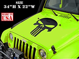 OccasionPrints Hood Vinyl Decal Punisher Skull Blackout Fits Most Vehicles Universal Jeep,Trucks,Cars