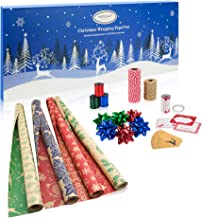 Christmas Wrapping Paper Set | Kraft Gift Wrapping Paper with Reversible Designs | 4 Christmas Rolls with Gift Bows, Satin Ribbon, Bakers Twine, 2 Sided Tape, Gift Tags & Stickers, in a Storage Box.