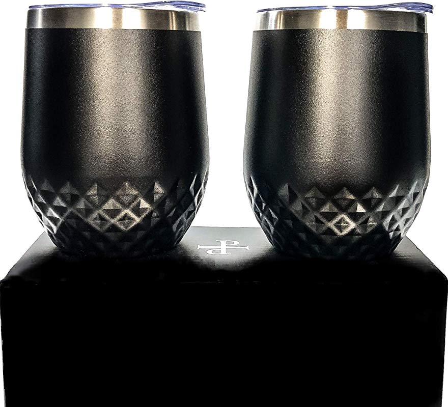 2 Pack Dishwasher Safe Designer Wine Tumblers With Lids Stemless Wine Glasses With Gift Box Vacuum Insulated Hammered 12 Oz By Petra Verre Stealth Black