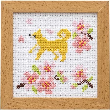 LECIEN (ルシアン) 刺しゅうキット かわいいどうぶつと季節のお花 フレーム付きクロスステッチキット しばいぬとさくら, 864