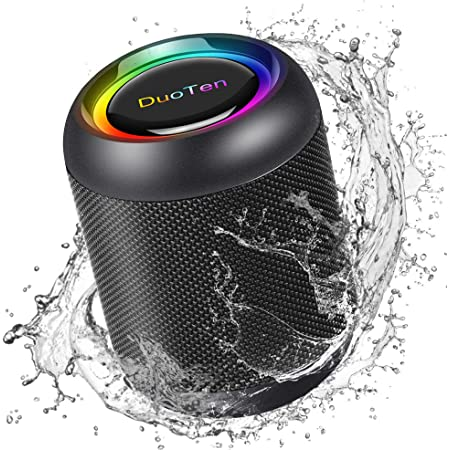 IPX7 Waterproof Bluetooth Speaker, DuoTen Portable Wireless Speaker with RGB Light Show 360° Surround Sound TWS with Mic AUX Micro SD 24 Hours Playtime for Travel, Home, Party, Shower & Outdoors