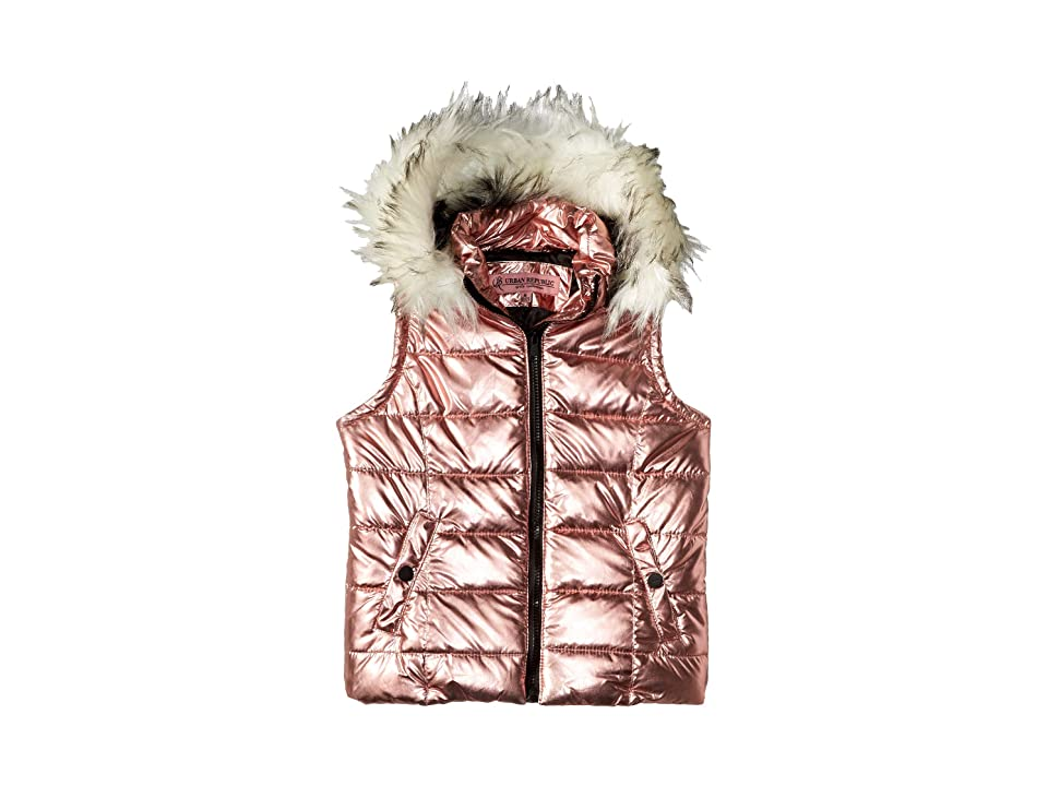 Urban Republic Kids Gal Metallic Foil Vest w/ Colored Faux Fur (Little Kids/Big Kids) (Rose) Girl