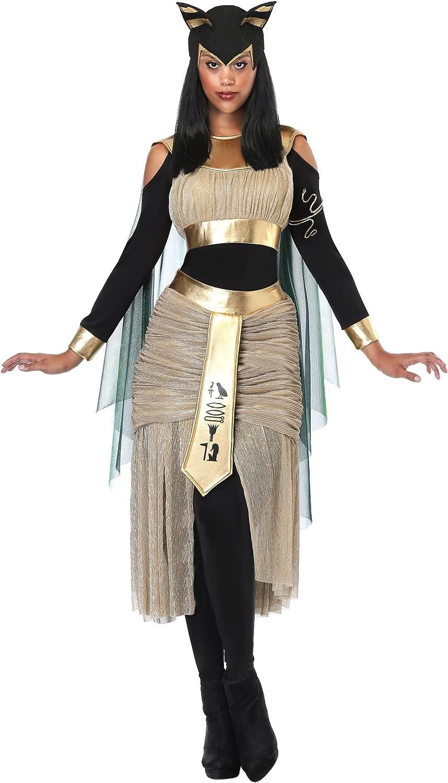Wouomo Egyptian Goddess Bastet Fancy Dress Costume Medium