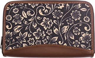 ZOUK Women's Flomotif Print Handmade Vegan Leather Wallets and Jute Purse for Ladies - Clutch with Indian Print - Wallets ...