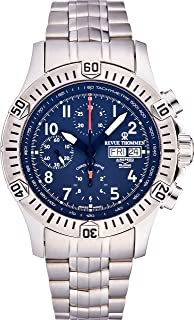 Revue Thommen Airspeed Xlarge Automatic Chronograph Watch - 44mm Blue Face with Day, Date Tachymeter Scale and Divers Bezel - Stainless Steel Bracelet and Swiss Made Waterproof Diving Watch 16071.6125