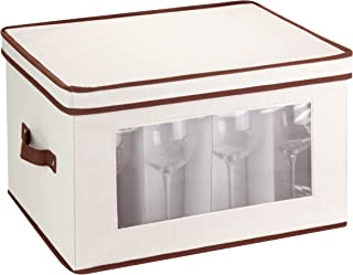 Honey-Can-Do SFT-02068 Natural Canvas Soft Storage Chest, Tall Window Box 17.6x14.5