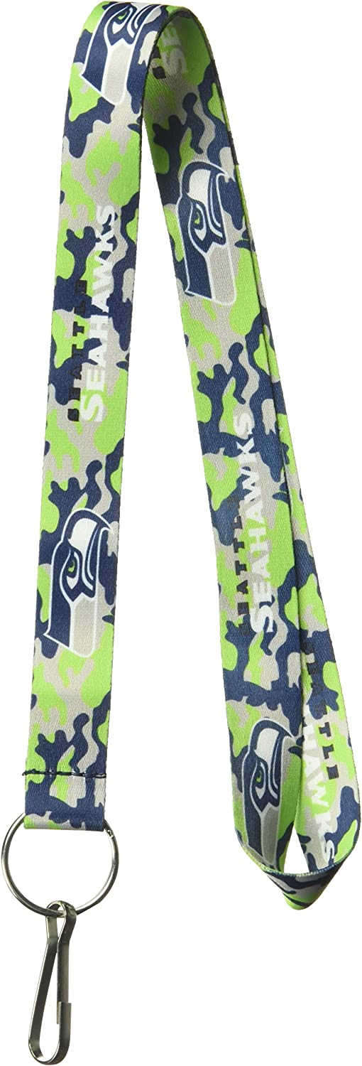 Aminco NFL Seattle Seahawks Team color Camouflage Lanyard 763264315944, College Navy, 22