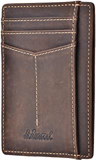 RFID Blocking Wallet Minimalist Slim Leather Credit Card Holder for Men (Y - Crazy Horse Dark Brown)