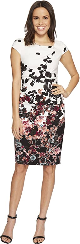 Adrianna Papell Floral Bliss Printed Stretch Crepe Sheath Dress with Cowl Neckline and Draped, Tucked Body, Fully Lined