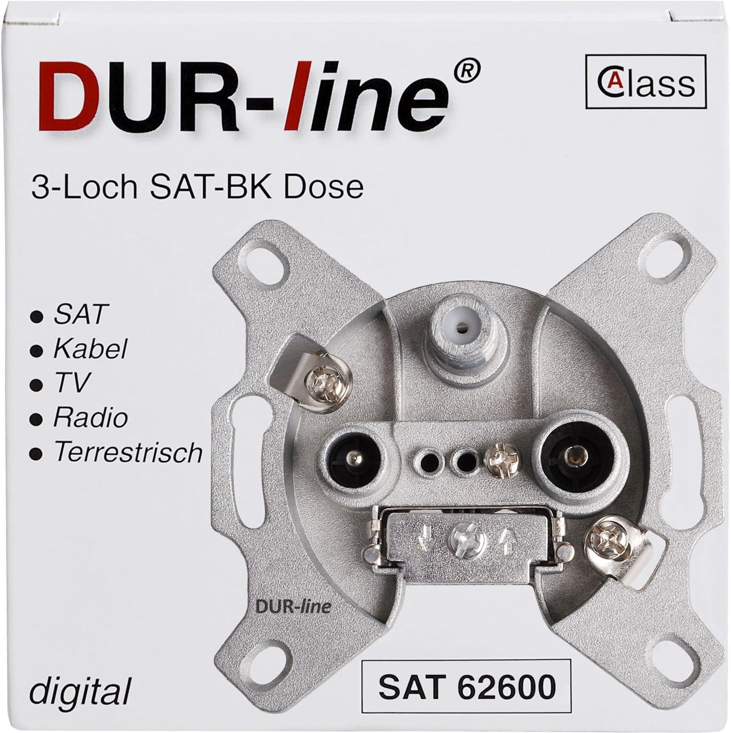 DUR-line Enchufe antena 3-agujeros SAT Tv cable DVB-T Radio Unicable para superficie y oculta conveniente (A través de, listo digital)