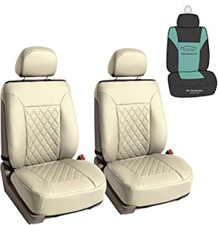 FH Group PU089102 Deluxe Faux Leather Diamond Pattern Car Seat Cushions (Beige) Front Set with Gift - Universal Fit for Cars, Trucks, SUVs