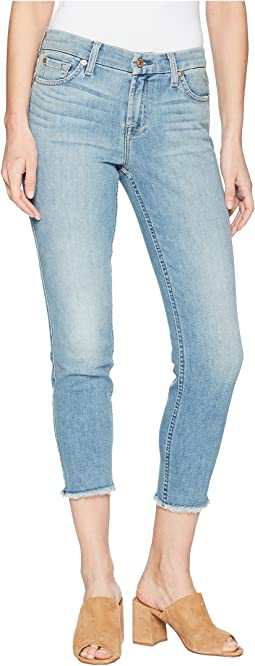 7 For All Mankind Kimmie Crop w/ Frayed Hem in Desert Heights