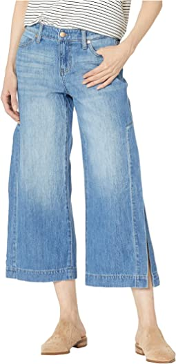 Presley Crop Flare with Side Slits in a Classic Soft Rigid Denim in Foxhill