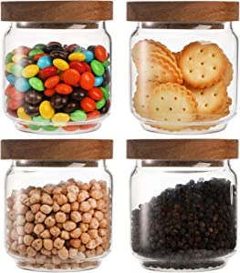 Bekith 4 Pack 15 FL OZ (450ml) Glass Food Storage Jar with Acacia Lids, Airtight Sealed Clear Glass Canisters, Kitchen Food Storage Container for Serving Tea, Coffee Beans, Nuts, Spice, Sugar
