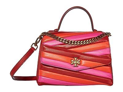 Tory Burch Kira Chevron Color Block Top-Handle Satchel (Red Apple/Bright Samba/Crazy Pink) Handbags