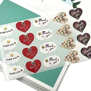 ملصقات شكراً لك، ملصقات تصميم فريدة، 500 قطعة من ملصقات التسمية اللاصقة، 5 ملصقات لاصقة مطلية بالورق للأعراس وأعياد الميلا...