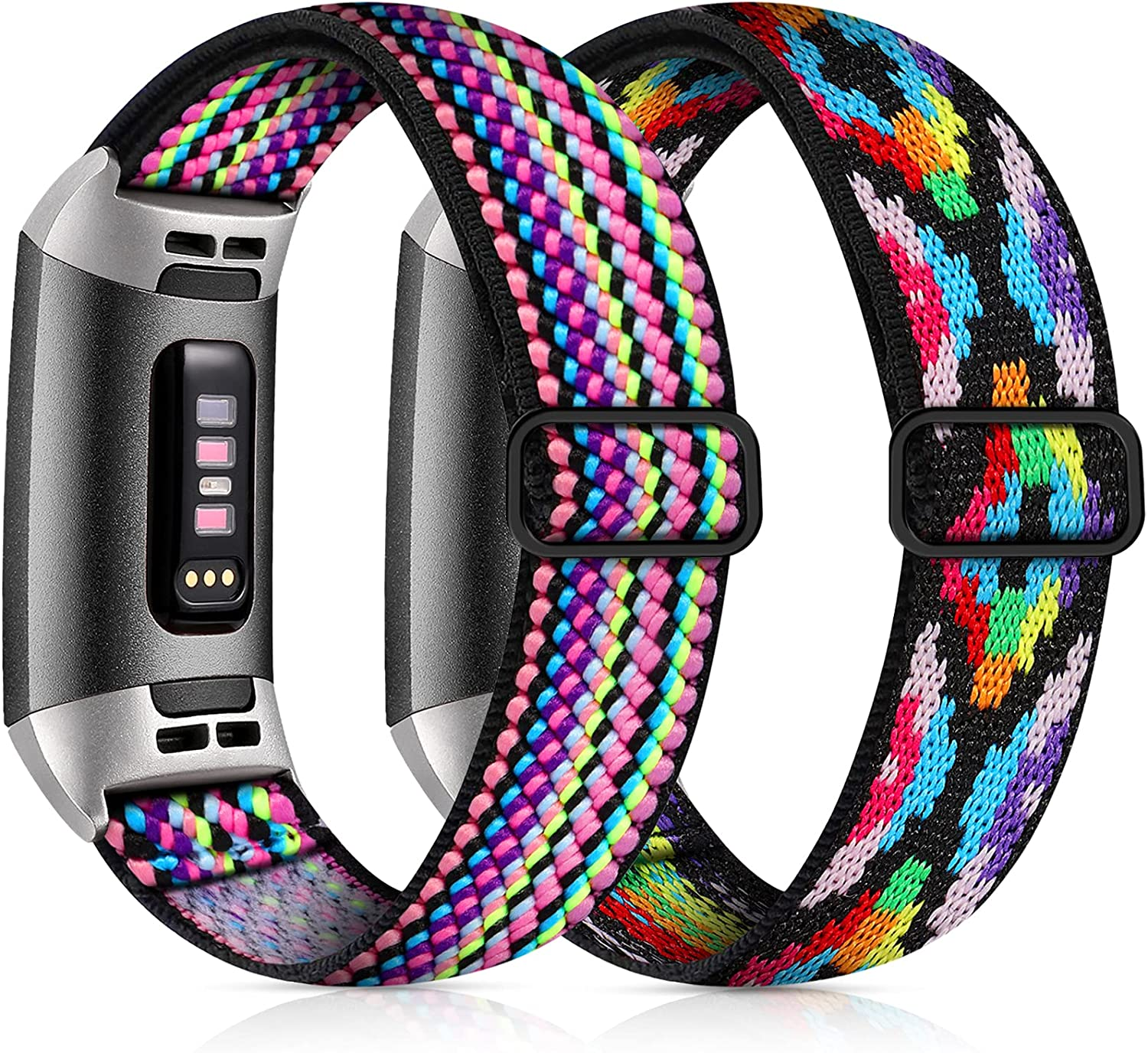 GEAK Elastic Band for Fitbit Charge 3/Fitbit Charge 4 Bands, Adjustable Stretch Breathable Nylon Fabric Pattern Replacement Strap for Fitbit Charge 3 Bands Women Men Aztec Colorful/Colorful Rope