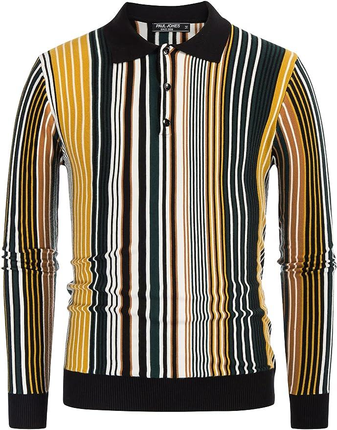 1960s Mens Shirts | 60s Mod Shirts, Hippie Shirts PJ PAUL JONES Men's Long Sleeve Knit Shirt Vintage Stripes Button Down Polo Shirt  AT vintagedancer.com