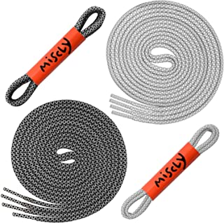 "Miscly Round Reflective Shoelaces [2 Pairs: 1 Pair White + 1 Pair Black] 5/32"" Thick"