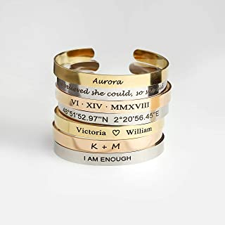 Cuff Bracelet Personalized Bangle Birthday Gift for Women Inspirational Friendship Bracelet Gift for Her Bridesmaid Proposal Coordinate Bracelet - FBR